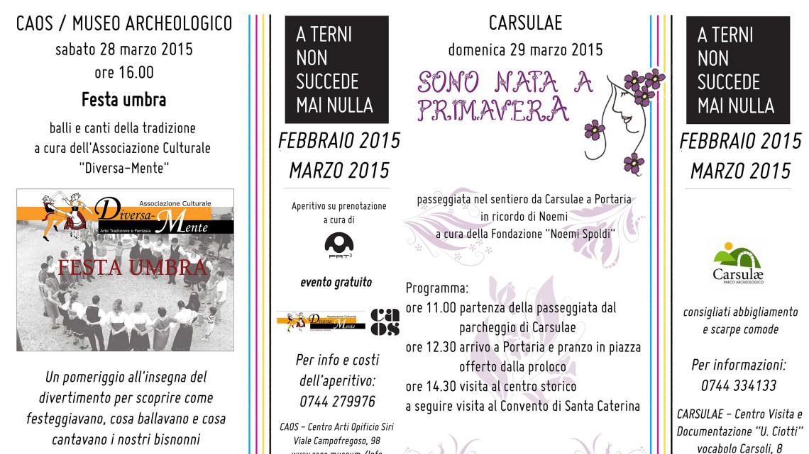 Locandine Eventi 28-29 marzo 2015 Caos Carsulae